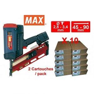 Lot Cloueur gaz MAX GS690 CH avec 10 packs 3.1×70 Acier