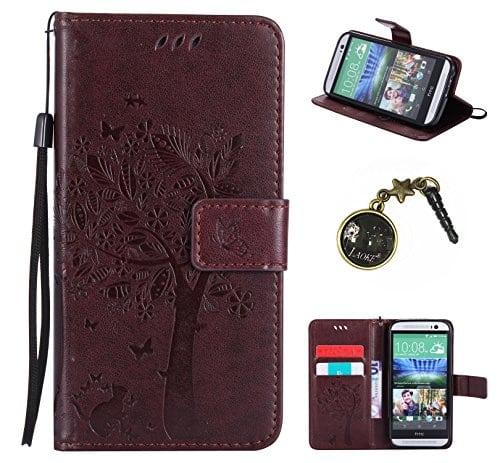 PU Coque One M8 / M8s, Multifonction Case Wallet Cover Etui en cuir Étui de protection flip Wallet stand Cover avec des fentes de cartes pour HTC One M8 / M8s +Bouchons de poussière (7TT)