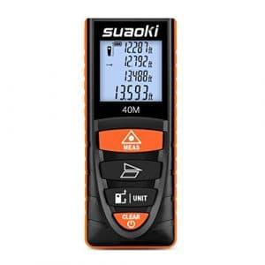 Suaoki D8 40M Telemètre Laser Numérique Ecart 2mm Maximum avec 4 Pouces Ecran LCD rétroéclairé Notice en Francais