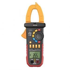 Tacklife CM01A Multimètre Numérique Pince Gamme Automatique Pince Ampèremétrique NCV Multimètre Numérique Pince avec Ecran LCD Détecteur de Tension, Courant, Résistance, Capacité, Fréquence, Cycle de service, Test de diodes