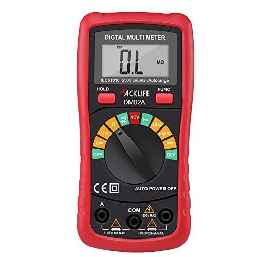 Tacklife DM02A Multimètre Numérique Gamme Automatique Multimètre Digital avec Ecran LCD Rétroéclairé Détecteur de tension sans contact Testeur de Voltage AC/DC, Courant AC/DC, Résistance, Continuité, Diodes, Rouge