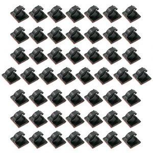 Zilong Câble Clips Gestion des Câbles en Nylon avec l'Adhésif Double Face( avec 50 PCS) pour Voiture Maison Bureau Ordinateur PC Câble de Charge (Noir)