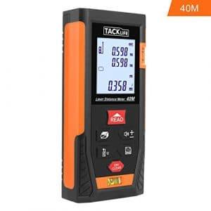 Tacklife HD 40m Télémètre Laser Numérique avec LCD rétro-éclairage Metre Laser calcule Distance Surface Volume pour Bricolage avec fonction Mute