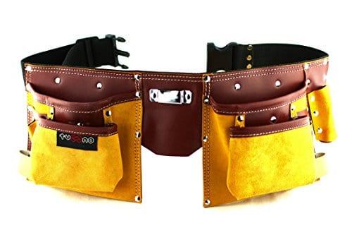 ceinture porte outils en cuir de qualit avec 11 poches ceinture ajustable en nylon cadeau. Black Bedroom Furniture Sets. Home Design Ideas