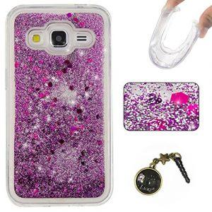 3D Étui soft shell coque pour Samsung Galaxy Core Prime SM-G360, SM-G361F TPU coque soft shell couvercle de batterie étui coque de protection eau avec Design boule de neige étoile en rose clair transparent +Bouchons de poussière (8UU)