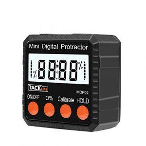 Tacklife MDP02 Classique Mini Inclinomètre Numérique 90°/Rapporteur d'Angle /Alliage de Zinc /Mesure Absolue et Relative d'Angle et de Pente /Maintien de données