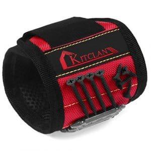 Outil de Bracelet Magnétique (1 Pièce), Kitclan Bracelet Magnétique avec 5 Aimants Puissants, Réglable de la Ceinture en Nylon pour Tenir des Outils, Vis, Clous, Boulons, Écrous, Forets, Fourniture et Plus (Rouge)