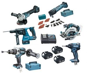 Makita DLX6030MJ1 Pack de 6 Machines avec 3 batteries en 4 coffrets Makpac 18 V 4 Ah