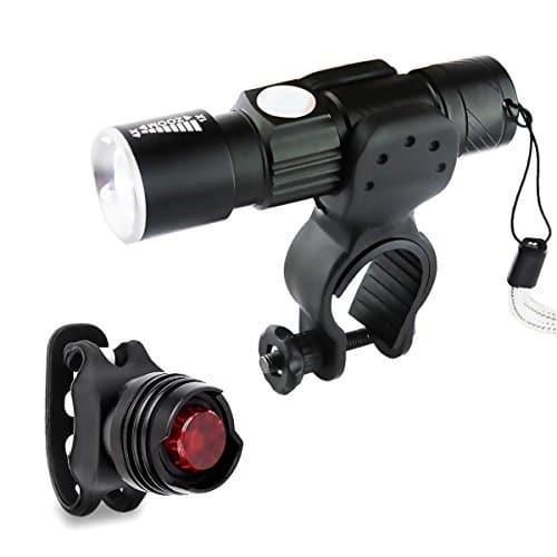 3 lots kit lampe torche tanche avant v lo led morecoo lampe de poche usb rechargeable 5 modes. Black Bedroom Furniture Sets. Home Design Ideas
