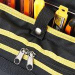 Babimax Sacoche A Outils Rigide Électricien Ceinture Porte-outils Compact Réparation Portable pour Travail Bricolage 600D Oxford Noir