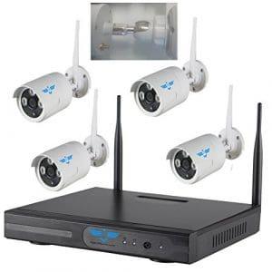 Systèmes caméras «ITALIAN ALARM» professionnel 4CH WIFI NVR de sécurité sans fil avec 4 Extérieur HD 2.0 Mpixel Grand Angle de surveillance CCTV caméra Plug and Play NVR