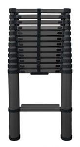 Batimex 30380A-F Echelle télescopique 3,87 m avec échelons élargies/système anti-pincement Noir Mat