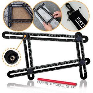 Règle multi angle noir par Phytagore – Instrument de mesure d'angles (Outil Angle-izer) regle angle modèle multifonction de qualité professionnelle – Équerre à angle magique