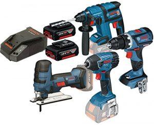 Set Bosch marteau GBH18V-EC + Perceuse gsb18V-60C + scie gst18V-li + Perceuse GDR 18V-LI + deux batteries 4.0Ah + chargeur