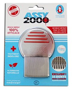 ASSY 2000 – Peigne antipoux antilentes – en acier trempé inoxydable avec dents micro-cannelées