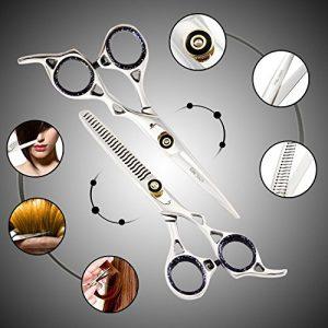Generic Chromé de sécateurs Nning HA Coupe de cheveux cheveux CU Professional Barber Coiffeur Ing SCi Coque Ber H Ciseaux à effiler