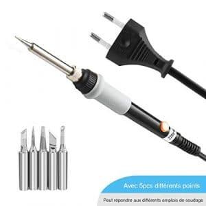 GOCHANGE® MT223 60W Fer à Souder Electrique avec Température Réglable 220℃~450℃, 220V Soldering Iron avec 5 pcs Embouts