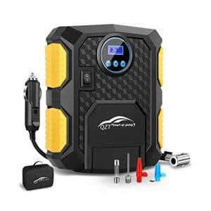 QZT Compresseur Voiture 12V, Gonfleur Électrique de Pneu Digital, Kit Compresseur d'air Portatif, avec Sac, Lumière Led, 3 Adaptateurs de Gonflage