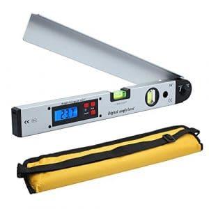 Neoteck 400mm / 16inch 0 ~ 225 ° Numérique Angle Finder Inclinomètre LCD Rétro-Éclairage Niveau Rapporteur avec Étui Portable pour Applications Industrielles Restructuration du Travail