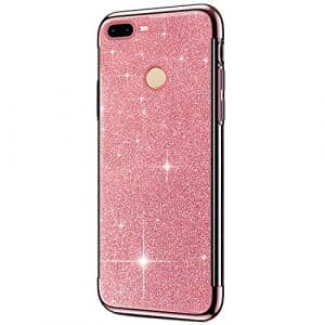 SainCat Coque Huawei Honor 9 Lite, Coque Huawei Honor 9 Lite Glitter Paillettes Ultra Slim Silicone 3 in 1 Antichoc Coque pour Huawei Honor 9 Lite-Or Rose