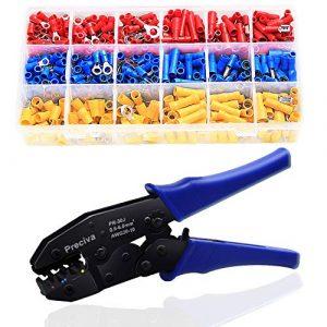 Pince à Sertir à Cliquet pour Cosses Pré-Isolées, Preciva 700 Pieces isolées de AWG22-10 (0,5-1,5mm²) (1,5-2,5mm²) (4-6mm²) avec 700PCS-27 Types de cosses à sertir isolées