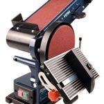 Ferm Ponceuse Stationnaire – 350W – 150mm – avec 2 Bandes abrasives (P80 et P120) et 2 disques abrasifs (P80 et P120)