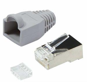 odedo Lot de 20 fiches à sertir en métal CAT6 avec Dispositif d'aide au sertissage et Protection Anti-Pliage Prise réseau RJ45 Kat6 Gris