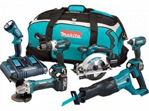 MAKITA Pack de 6 machines DLX6072PT – 3 batteries 18 V 5 Ah Li-ion – Chargeur double – Sac de transport