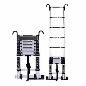 15,5 pi de mise à niveau en aluminium avec crochet échelle télescopique amovible, échelle d'extension multi-usage 12 étapes for Industrial Ménage quotidien ou utilisation d'urgence, 330 lb grande capa