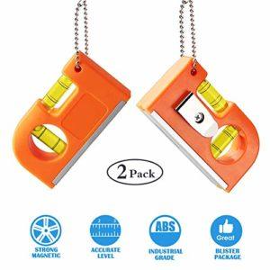 2pcs petit outil de niveau de poche, Bestcool niveaux à mini-torpilles au niveau à bulle avec porte-clés en métal à deux niveaux et crochet pour carreaux