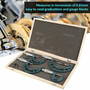 4PCS Micromètre Exterieur 0-100 mm Jeu de Micromètre Haute Précision Outil de Mesure et Distribution