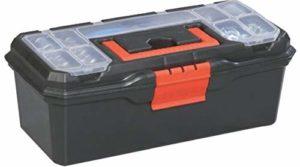 Boîte à outils en plastique avec organiseur avec compartiments sur le couvercle. Plateau amovible avec fermeture et trou pour cadenas. Dimensions : 320 x 150 x 135 mm.