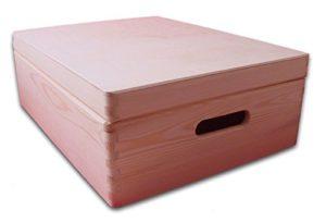 Boîte en bois avec couvercle 40 x 30 x 14cm