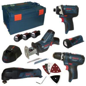 Bosch Professional Kit professionnel d'outillage avec 5instruments (GSR, GOP, GLI, GDR, GSR), 3batteries 10,8V 1,5Ah, chargeur AL1130CV et L-Boxx, taille 3 Réf0615990EX4