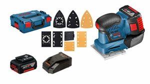 Bosch Professional Ponceuse Vibrante Sans Fil GSS 18V-10 (18V, 2 batteries 5,0 Ah, Largeur du plateau de ponçage : 113 mm, L-BOXX)