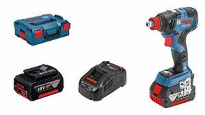 Bosch Professional Visseuse A Chocs Sans Fil GDX 18V–200 C (18V, 2 batteries 5,0 Ah, Ø des vis : M 6 – M 16, couple: 200 Nm, L-Boxx)