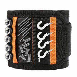 Bracelet magnétique – Cadeau pour homme ou papa, bracelet magnétique avec 15 aimants puissants pour les outils de bois, clous, vis, trous et petits outils.