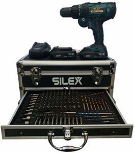 Coffret Perceuse visseuse percussion 20V avec 2 batteries Li-Ion 2 Ah + 110 accessoires Silex