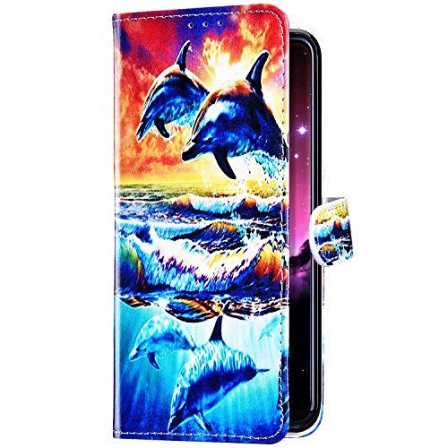 Compatible avec Samsung Galaxy J6 Plus 2018 Coque Housse en Cuir Étui avec Rabat,Imprimé Coloré Motif Coque Pochette Portefeuille Cartes Slots Bookstyle Flip Support Coque Smart Cover Case,Dauphin