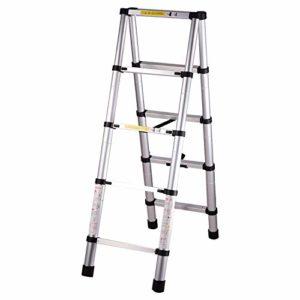 DASEXY Télescopage Ladder Extension des échelles télescopiques en aluminium rétractable portable extensible échelle avec le bouton 330 Pound Capacité Idéal pour les combles