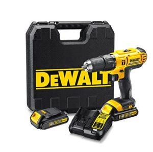 DeWalt DCD776C2-QW Perceuse-visseuse à percussion 18V – Compacte et ergonomique – Idéale endroits exigus – Mandrin : 13 mm – 3 batteries 18V Lithium-ion 1,3 Ah