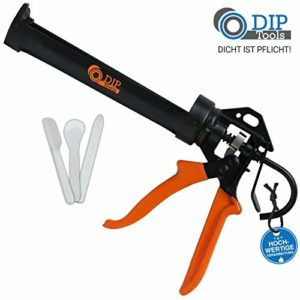 DIP-Tools PRESSFIX Professionnel Pistolet a Cartouche avec Rapport de Puissance 16:1 pour Toutes les Cartouches de 310 ml – y compris Kit de Lissage de Joints