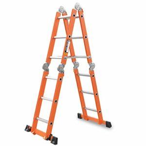 Echelle pliante télescopique Echelle multifonctionnelle Echelle de levage Escabeau Escabeau Aluminium, orange