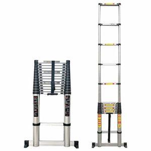 Échelle télescopique en aluminium, échelle portable avec barre de stabilisation pour le toit, l'inspection de la maison et les tâches ménagères LXHFF