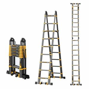 Echelle Télescopique Extension LXLA pliante Ladder Cadre A, aluminium portable échelle télescopique for le bricolage / Loft / toit – Charge maxi 150 kg (Taille, 16.04ft / 4.89m = 2.5m + 2.5m) ,, 13.39