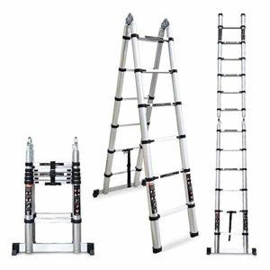 Echelle Télescopique LXLA Extension Ladder avec stabilisateur Telescoping barre, aluminium multi-usage échelle télescopique for Grenier / toit / extérieur / Industriel / Bricolage – 150kg Supports (Ta
