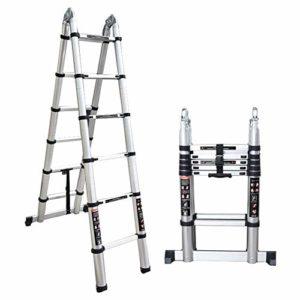 Echelle Télescopique LXLA Ladder et Extension Telescoping Ladder – Aluminium Multi-Purpose A-Frame Pliant télescopique Échelle, 330 lbs Capacité (Taille, 10.50ft / 3.2m = 1.6m + 1.6m), 10.50ft / 3.2