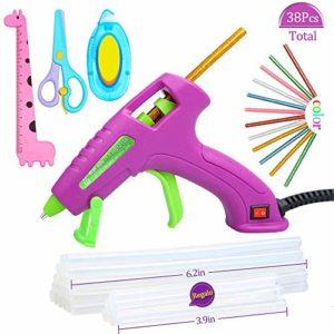 E·Durable Mini Pistolet à Colle Chaude 38Pieces barres de colle Kit d'école de pistolet de silicone DIY pour des enfants(30w Violet)