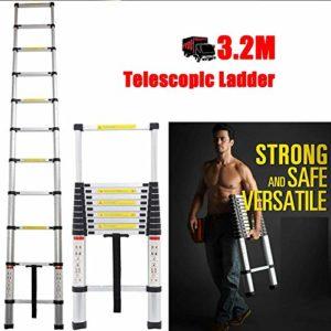 Escabeau télescopique pliable en alminium 3,2 m EN131 échelle extensible extensible extensible 11 marches extensible multi-usages