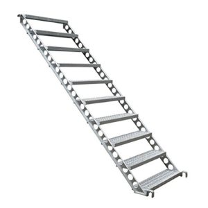 Escalier de chantier, d'extérieur 2 m de hauteur, 45 degrés, 80 cm de largeur.